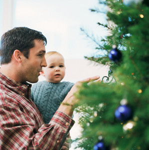M178 / Choice 7 of 8<br /> <br /> Man and Baby by Christmas Tree