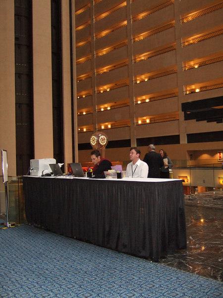 Registration desk at the Marriott Marquis