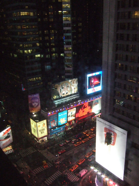 The view from my hotel room...see the Jeep Wrangler hanging from the largest billboard?