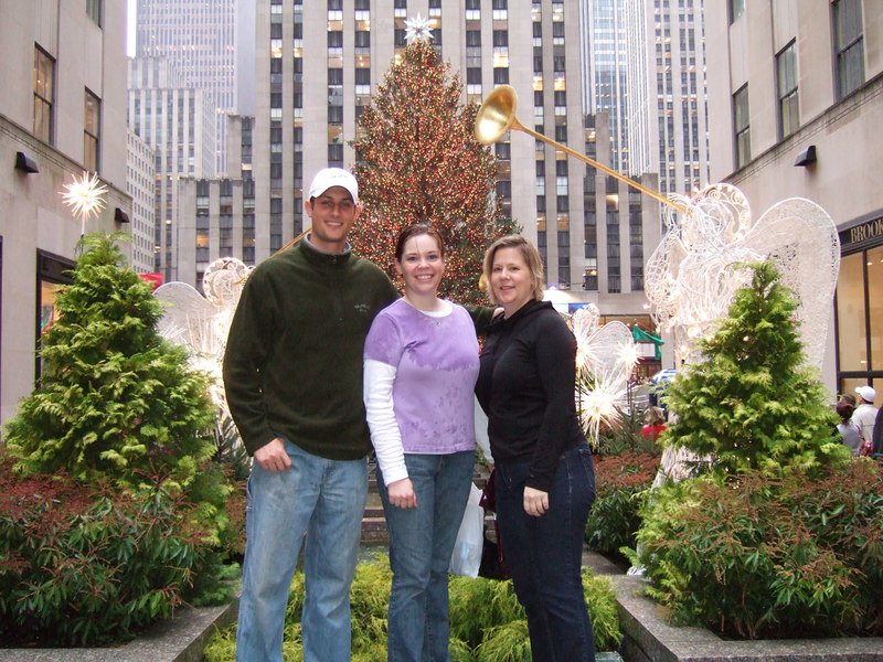Matt, Sarah, and Stephanie in front of the Rockefeller Christmas tree.  It was pouring and I didn't want to buy an umbrella...I was soaked.