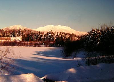 McKenzie Mt from the High School Pond, saranac Lake, NY, feb 1, 19791