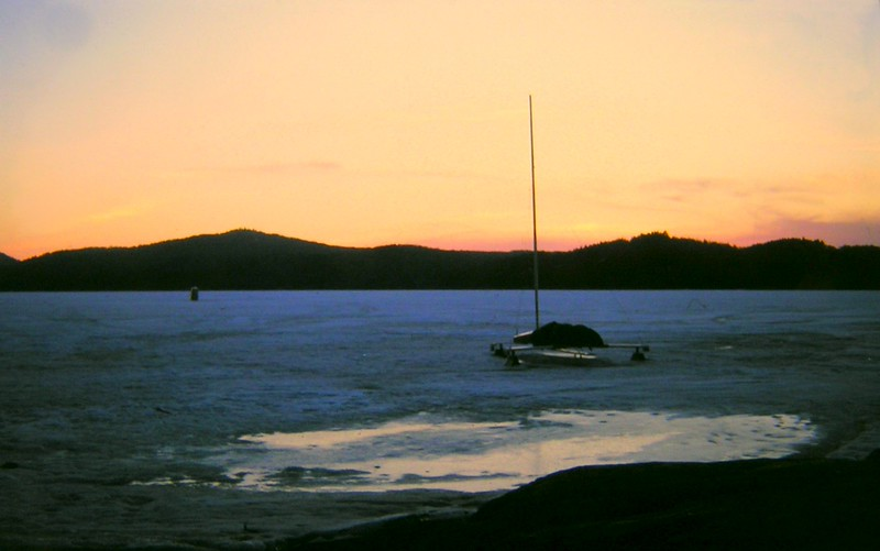 ice boat, Lonesome Bay, Lower Saranac Lake,  apr 1970