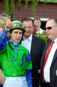 Ramon Dominguez speaks with Trainer Rick Dutrow after winning the Three Chimneys Hopeful Stakes Grade 1 at the Saratoga Race Course Monday afternoon. Photo Erica Miller 9/6/10 spt_Hopeful2_Tues