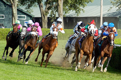 Final Turn on the inner turf for the 8th race where Frivolous Buck, ridden by Javier Castellano, won at the Saratoga Race Course Monday afternoon. Photo Erica Miller 9/6/10 spt_8thRace_Tues