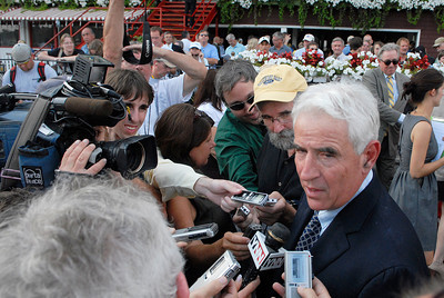 Trainer Nick Zito is interviewed by the media after winning the Forego Stakes, Grade 1, on Saturday at the Saratoga Race Course. Photo Erica Miller 9/3/11 spt_Forego4_Sun