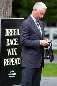 Lead Trainer Todd Pletcher in the Paddock before the start of the Three Chimney's Stakes Race on Monday at the Saratoga Race Course. Photo Erica Miller 9/5/11 spt_LeadTrainer1_Tues