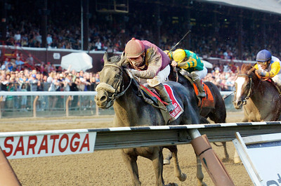 Corey Nakatani atop Jackson Bend won the Forego Stakes, Grade 1, on Saturday at the Saratoga Race Course. Photo Erica Miller 9/3/11 spt_Forego2_Sun