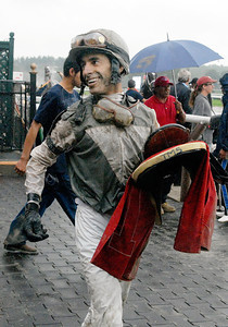 Lead jockey Johnny Velazquez after winning the 7th Race riding Ambassador Bridge on Monday at the Saratoga Race Course. Photo Erica Miller 9/5/11 spt_LeadJockey_tues