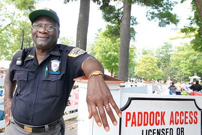 Leroy Clement, NYRA Security Peace Office at the Paddock entrance at the Saratoga Race Course. Photo Erica Miller 9/3/11 spt_LeroyClement_Mon
