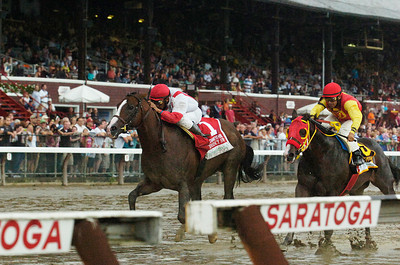 Currency Swap, ridden by Rajiv Maragh, won the Three Chimneys Hopeful on Monday at the Saratoga Race Course. Photo Erica Miller 9/5/11 spt_ThreeChimney1_Tues