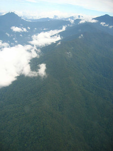 view of the kelabit highlands from the plane