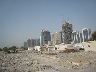 Looking back across the demolitions towards Sheikh Zayed Road.