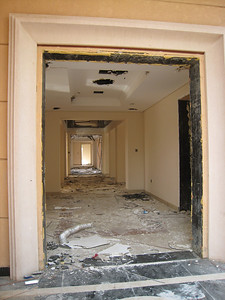 The hall way of the mansion, completely stripped.