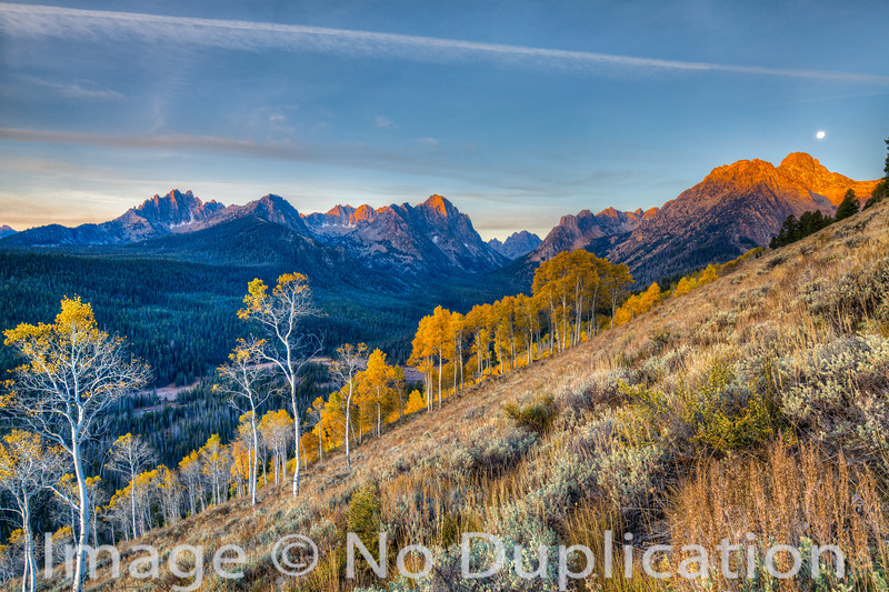 Autumn sunrise, Sawtooth Mountains, Sawtooth National Recreation Area