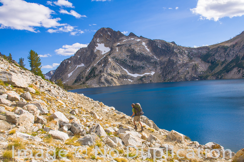 Hiker at Sawtooth Lake, Sawtooth Wilderness, Idaho