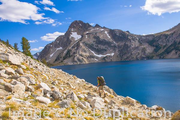 Hiker at Sawtooth Lake, Sawtooth Wilderness, Idaho
