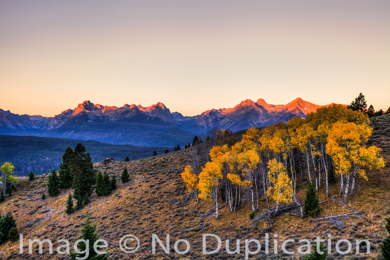 Autumn sunset on the Sawtooth Mountains, Idaho