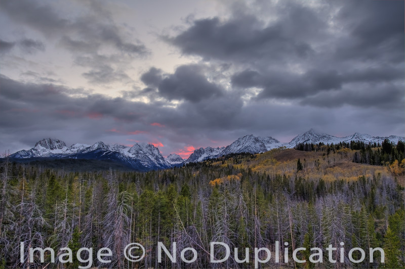 Fiery Fall Sunset, Sawtooth Mountains, Idaho