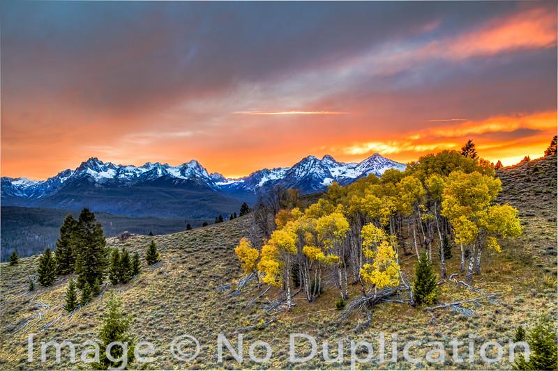 Fiery Fall Sunset, Sawtooth Mountains, Idaho