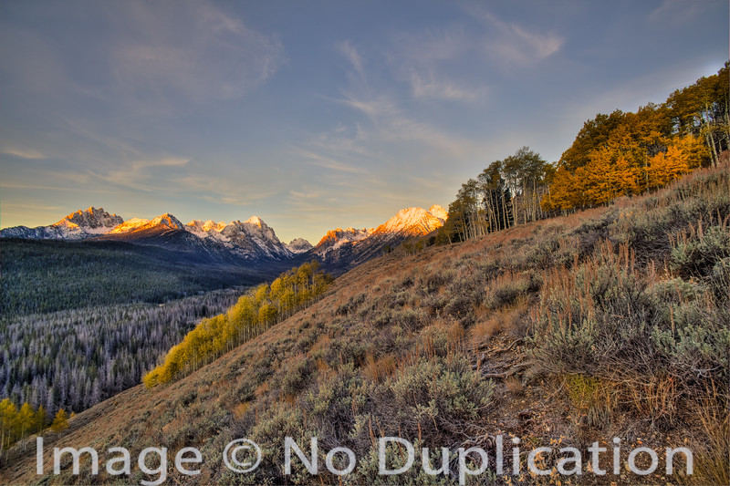 Autumn sunrise on the Sawtooths, Idaho