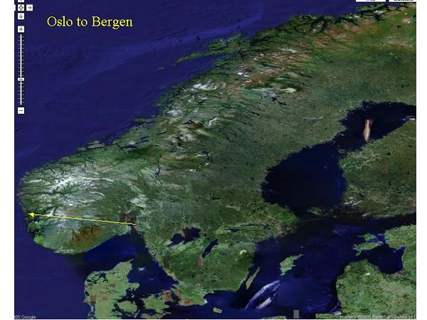 Bergen is on the West coast of Norway, tucked into the Fjords.  Flying over we could see snow on the mountains.
