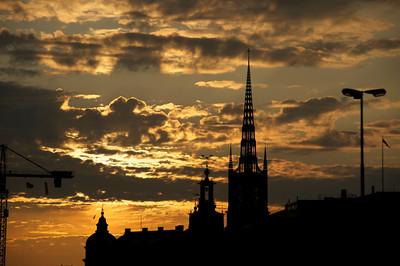 Stockholm - sunset over Gamla Stan