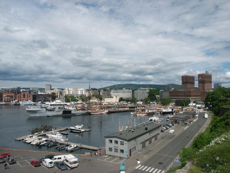 From the top of the fort there is a nice view of the harbor including the City Hall.  The tall ship at the central pier was visiting from Sweden for the anniversary celebration.  The King and Queen were also in town.  Several in the clan saw them at one time or another.  The fort is also home to the Norwgian Resistance Museum which has a sobering display of the impact that WW-II had on the people of Norway.  The evil of the Nazis was very real to them.