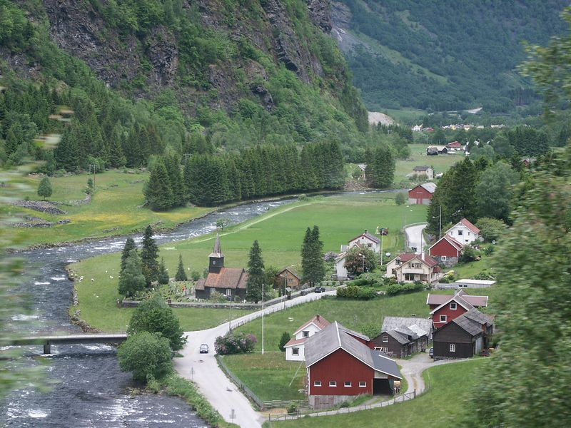 The little toen of Flam.  Surrounded by mountains and waterfalls.