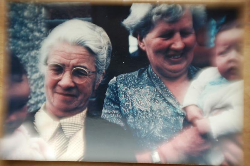Mrs. ? ? Hallinan and Ellen Sayers Moran (Mom) with ? grandchild.