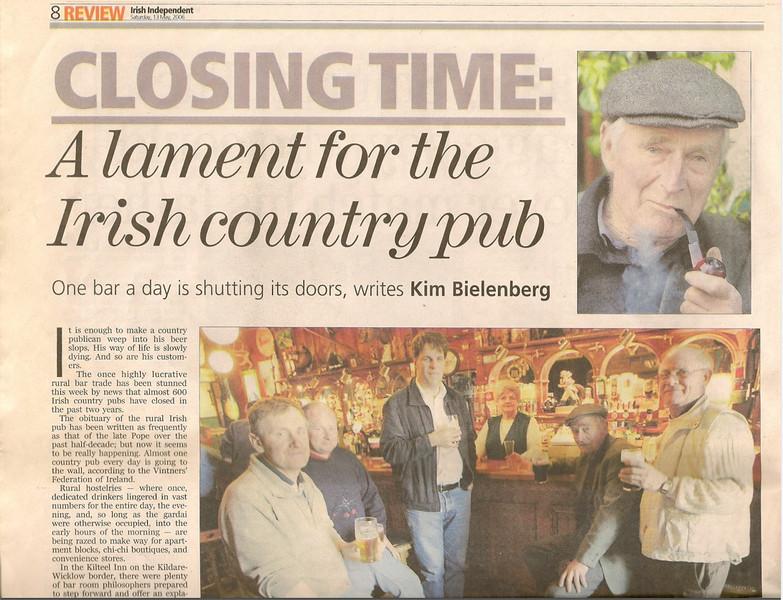 Matt Moran (my brother) at his local pub. Published on Irish News Paper