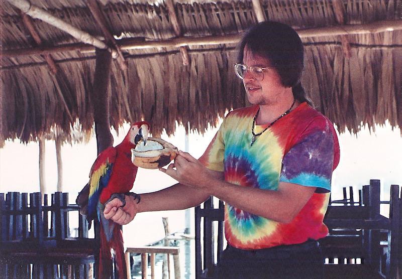 "Mark with a ""guacamaya"" (scarlet macaw). Flores, Peten Itza, Guatemala, March or April 1993."