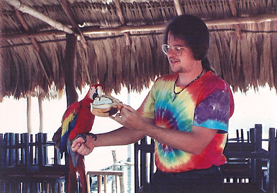 "Mark with a ""guacamaya"" (scarlet macaw). Flores, Peten Itza, Guatemala, March or April 1993."