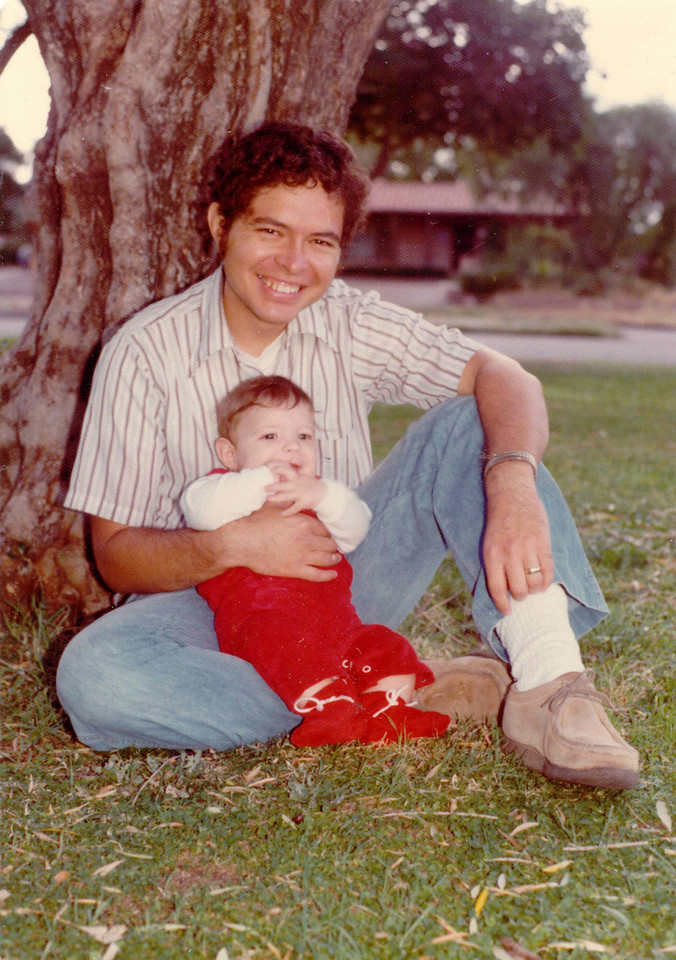 Brian, Fred at a park in Tucson, 1976