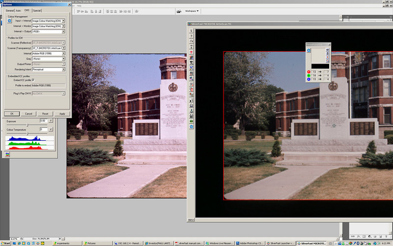Why does this look different in Photoshop than in Silverfast after scanning?<br /> PS CS3 is set to use Adobe RGB, the same as Silverfast. There is a noticeable colour cast in the picture seen in Photoshop compared to the one in Silverfast.