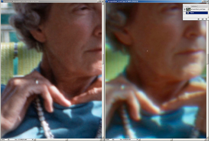 Screen shot from Photoshop CS3, details of same slide. Left: Dimage 5400II, Right: ArtixScan M1. Original slide shot in 1970 on Kodachrome. Note that the dimage scan is a tif file, the other is a jpg, my primary interest here is in the blue fringe along the necklace.