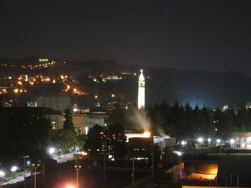 Campanile from Gaia roof - over exposed, 5-10-03