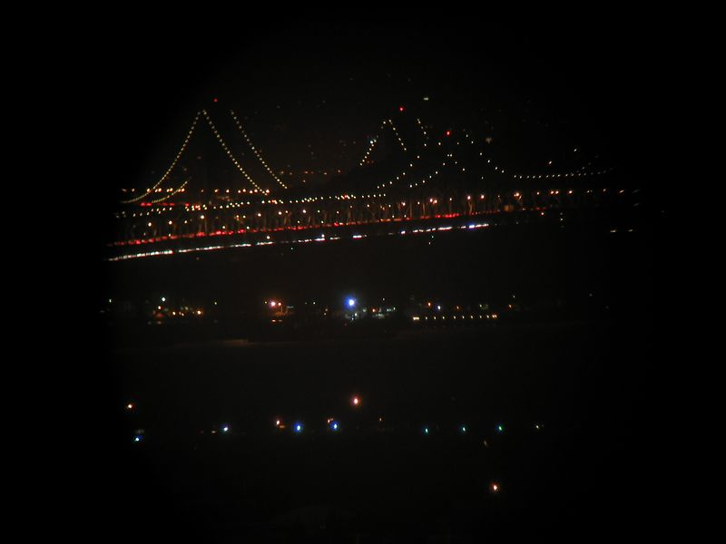 Bay Bridge through Gaia roof telescope, 5-10-03