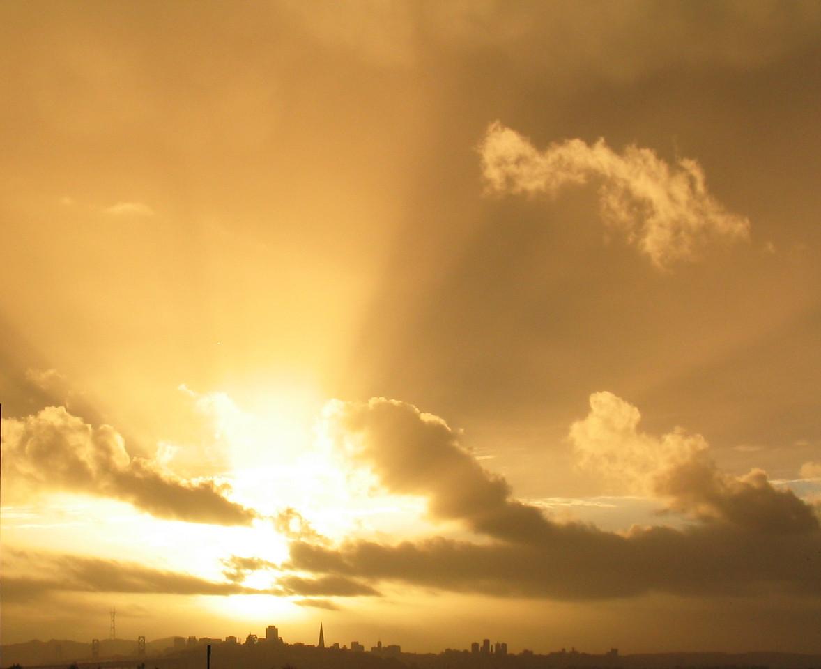 Gold sunrays from EmeryBay balcony - bright