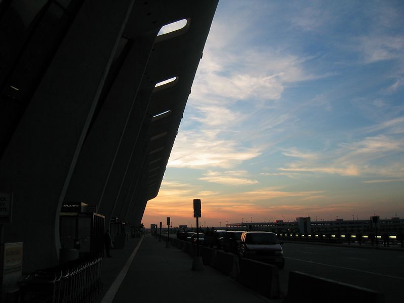 2003 10 31 Friday - Sun setting @ Wash  D C  Dulles Int'l Airport - richer colors