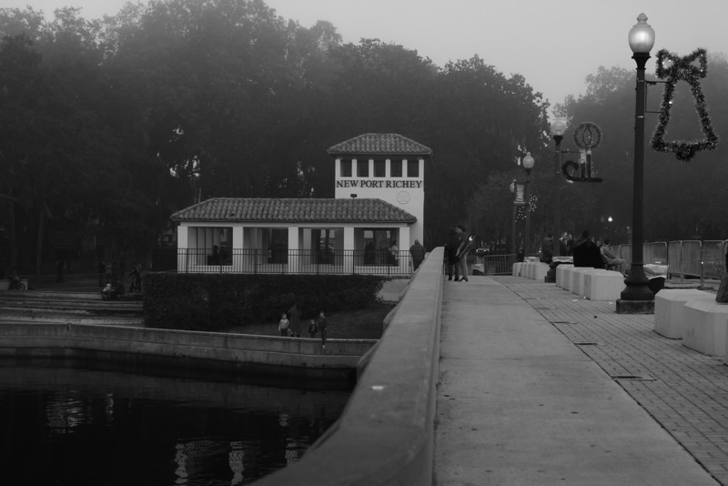 New Port Richey, Florida an hour before the Christmas parade, 2010. Fog was rolling in from the Gulf of Mexico.