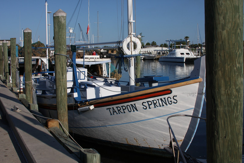 An old style sponge fishing boat. The docks are on the Anclote River, which drains into the Gulf of Mexico. Mark and I live just north of here.