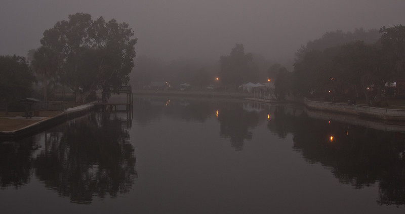 View of the Pithlachascotee River, in the fog, the evening of the New Port RIchey Christmas parade - 2010.