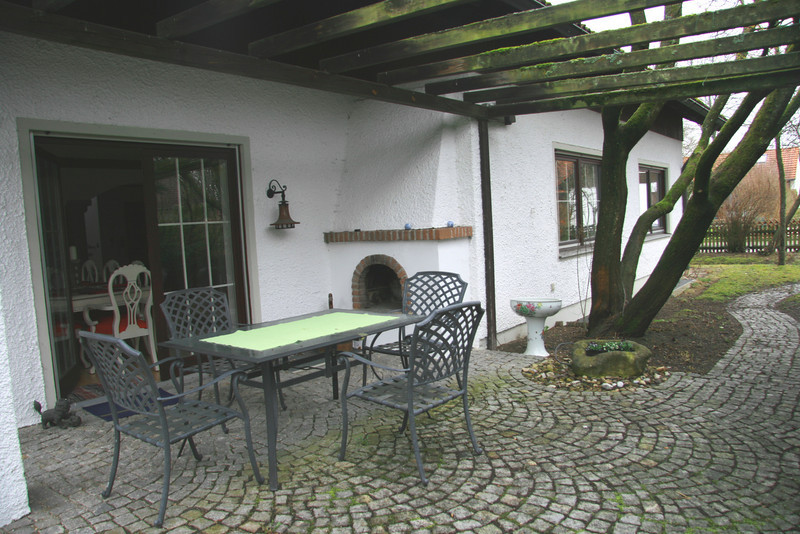 View of terrace with open fire place/bbq