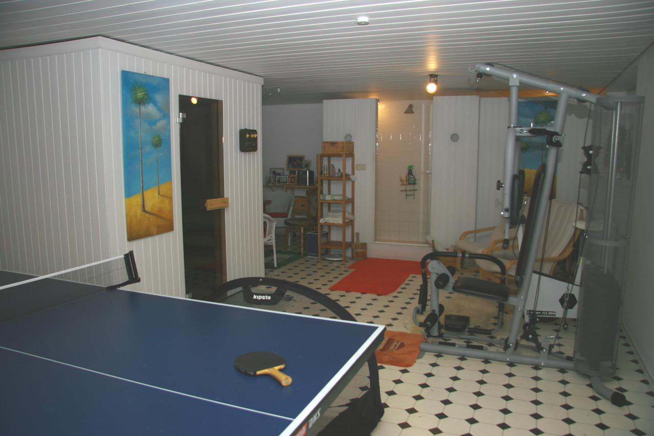 Cellar games room with gym, sauna and table tennis