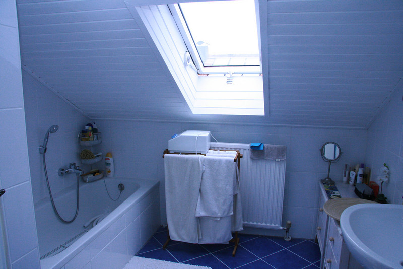 Upstaires bathroom - Pete has problems hiting his head