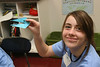 An Ascension student shows us her finished origami gator.  Nice work!