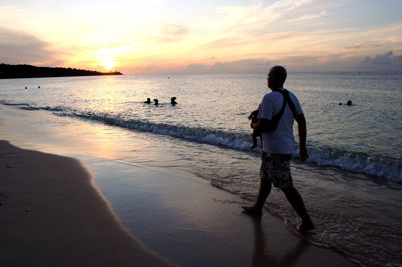 walking with Daddy on the beach