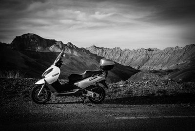 A proud scooter near La Cime on Col de la Bonette, France