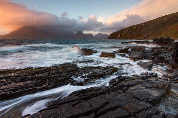 Sun setting on the Cuilin, viewed from the sluice, Elgol.