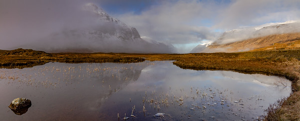 Stob Coire Raineach reflected in Lochan na folla, Glencoe with Meall Dearg & Sgorr nam Fiannaidh on the right (Stiched panorama)